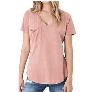 Z Supply Pink Suede Top